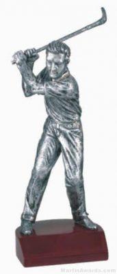 Male Golf Silver Resin Trophy