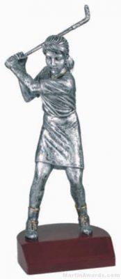 Female Golf Silver Resin Trophy
