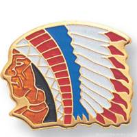 "11/16"" Indian Chief Mascot Lapel Pin"