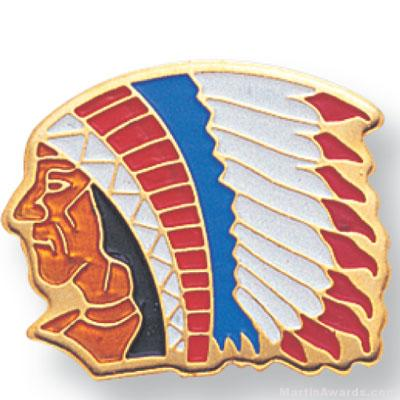 11/16″ Indian Chief Mascot Lapel Pin 1