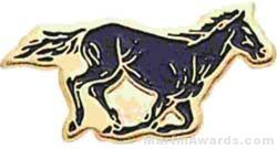 "13/16"" Enameled Mustang Mascot Pin"