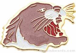 "15/16"" Enameled Cougar Mascot Pin"