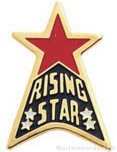 """15/16"""" Etched Soft Enamel Rising Star Chenille Letter Pin"""