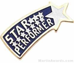 "3/4"" Etched Soft Enamel Star Performer Chenille Letter Pin"