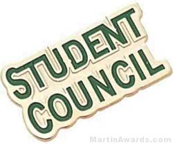 """7/8"""" Etched Soft Enamel Student Council Chenille Letter Pin"""