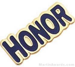 "1"" Etched Soft Enamel Honor Chenille Letter Pin"
