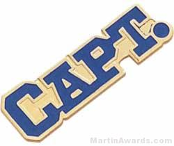 "1 1/8"" Etched Soft Enamel Captain Chenille Letter Pin"