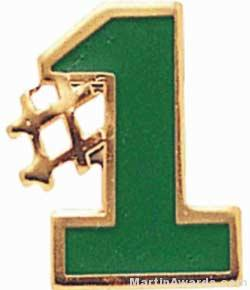 """5/8"""" Etched Soft Enamel Green #1 Chenille Letter Pin"""