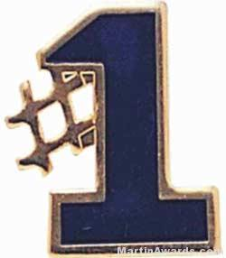 "5/8"" Etched Soft Enamel Blue #1 Chenille Letter Insert"