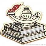 3/4″ Etched Soft Enamel Lamp Of Learning Chenille Letter Pin 1
