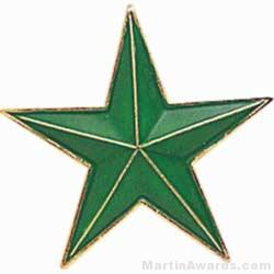 """7/8"""" Etched Soft Enamel Green Star Chenille Letter Pin"""