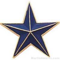 "7/8"" Etched Soft Enamel Blue Star Chenille Letter Pin"