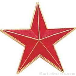 """7/8"""" Etched Soft Enamel Red Star Chenille Letter Pin"""