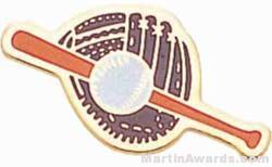 "1"" Etched Soft Enamel Glove, Baseball, Bat Chenille Letter Pin"