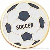 "3/4"" Etched Soft Enamel Soccer Chenille Letter Pin"