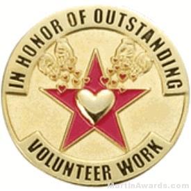 In Honor of Outstanding Volunteer Work Award Lapel Pin 1