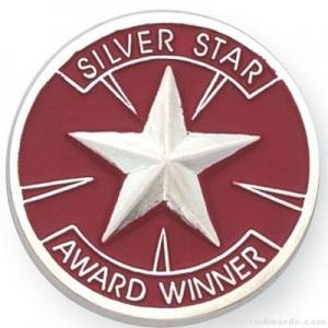 "1"" Silver Star Award Lapel Pin"