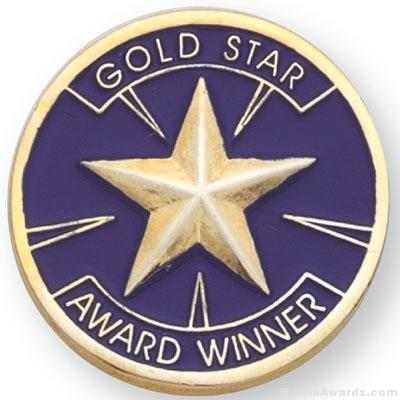 "1"" Gold Star Award Lapel Pin"