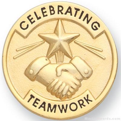 "1"" Celebrating Teamwork Lapel Pin"