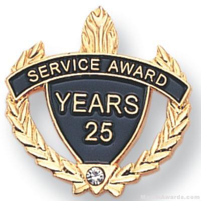 "7/8"" Service Award Pin set with Crystal Rhinestone Lapel Pin"