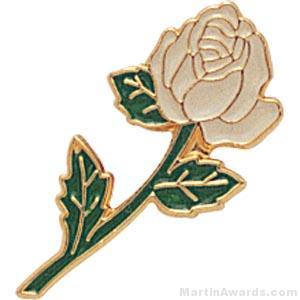 "7/8"" Rose Shaped White Enameled Custom Lapel Pins"