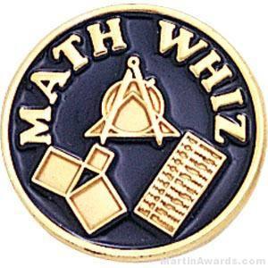 "3/4"" Math Whiz Round Enameled Lapel Pins"