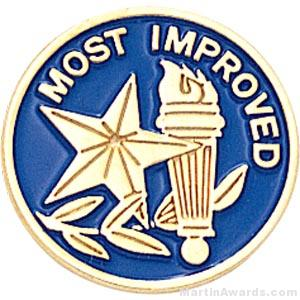 "3/4"" Most Improved Round Enameled Lapel Pins"