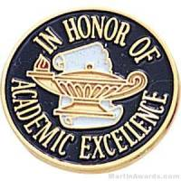 "3/4"" In Honor Of Academic Excellence Round Enameled Lapel Pins"