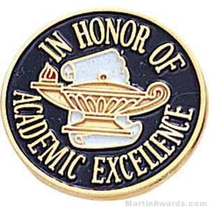 3/4″ In Honor Of Academic Excellence Round Enameled Lapel Pins 1