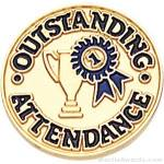 """3/4"""" Outstanding Attendance Round Enameled Lapel Pins"""
