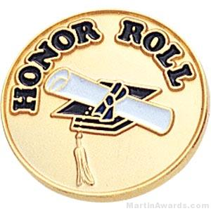 """3/4"""" Honor Roll Round Enameled Lapel Pins"""