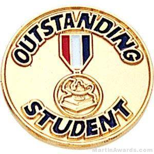 "3/4"" Outstanding Student Round Enameled Lapel Pins"