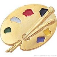 "7/8"" Painting Pallet Enameled Lapel Pins"