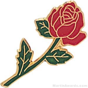 7/8″ Rose Shaped Red Enameled Custom Lapel Pins 1