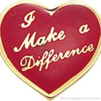 """5/8"""" I Make A Difference Heart Custom Lapel Pins"""