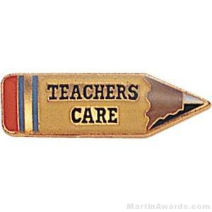 "7/8"" Teachers Care Custom Lapel Pins"