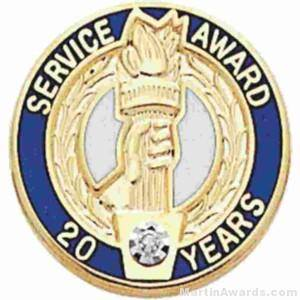 "3/4"" Service Recognition Award Pins 25 Years with Diamond"
