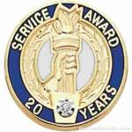 "3/4"" Service Recognition Award Pins 20 Years with Diamond"