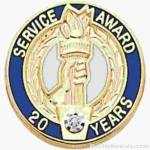 "3/4"" Service Recognition Award Pins 5 Years with Diamond"