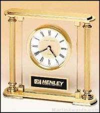 Clock Award - Upright Glass Clock with Brass Feet and Top