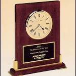 Desktop Clock Award – Rosewood Piano-Finish Wood Clock Award with Gold Accents 1