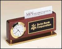 Desktop Clock Award - Combination Clock/Business Card Holders In Rosewood Finish with Gold Accents