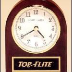 Desktop Clock Award – Rosewood Piano-Finish Desk Clock with Engravable Plate 1