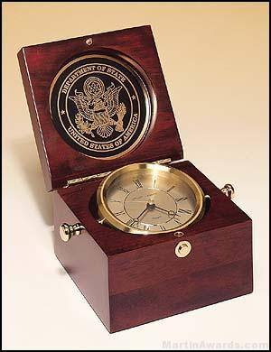 Clock Award - New Table Top Captain's Clock Mahogany Finish Case