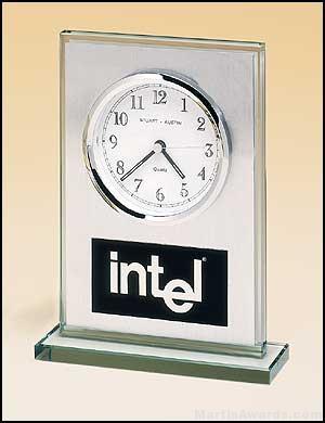 Desktop Clock Award – Glass Desk Clocks Brushed Aluminum Panel with White Dial 1