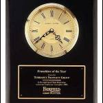Clock Plaque Award – Black Piano-Finish Wall Clock Plaque Award with Glass Lens 1