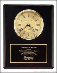 Clock Plaque Award - Black Piano-Finish Wall Clock Plaque Award with Glass Lens