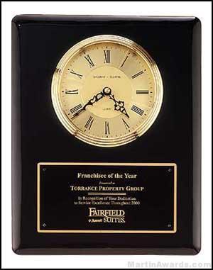 Clock Plaque Award - Black Piano-Finish Wall Clock Plaque Award with Glass Lens