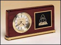 Clock Award - Rosewood Piano-Finish Desk Clocks with Engravable Plate
