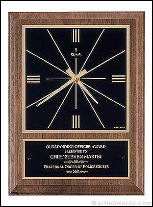 Clock Plaque Award - American Walnut Wall Clocks